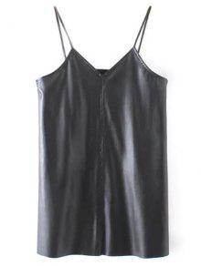 PU Leather Cami Mini Dress - Black M