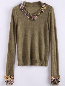 V Neck Sequins Sweater - Camel