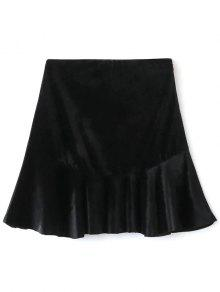 Flounced Velvet A-Line Skirt - Black S