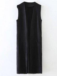 Buy Longline Side Slit Suede Waistcoat - BLACK S