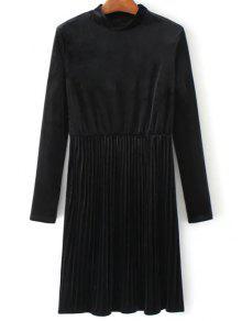 Long Sleeve Vintage Velvet Pleated Dress - Black M