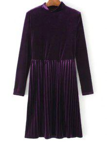 Long Sleeve Vintage Velvet Pleated Dress - Purple M