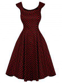 الأكمام كاب البولكا نقطة اللباس سوينغ - أحمر L
