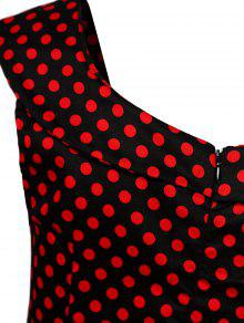 b333265679 39% OFF  2019 Vestido Sin Mangas Estilo Swing Diseño Puntos En Rojo ...