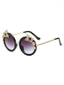 Gafas De Sol Ovaladas Imitación Diamantes Mariposa - Negro