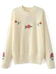 Cable Knit Floral Embroidered Jumper - Off-white L