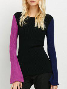 Contrast Bell Sleeve Ribbed Sweater - Black
