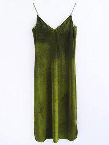 Robe En Velours à Longueur Moyen à Bretelle - Vert Olive   S