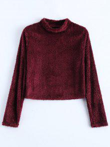 High Neck Fuzzy Cropped T-Shirt - Wine Red L