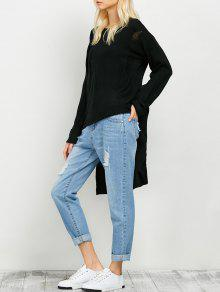 Oversized High Low Ripped Sweater - Black