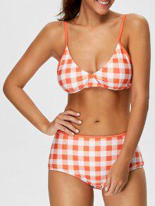 High Rise Checked Bikini - Jacinth M