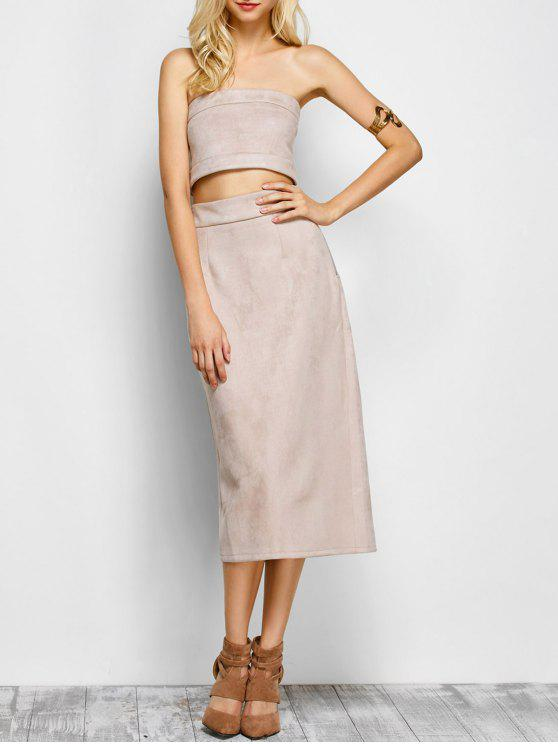 women's Suede Bodycon Skirt with Tube Top - LIGHT APRICOT PINK L