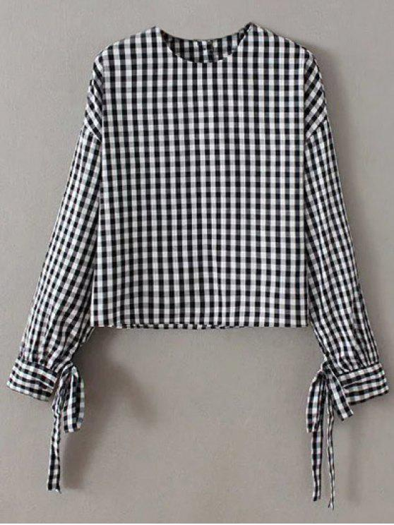 best Buttoned Checked Blouse - BLACK M