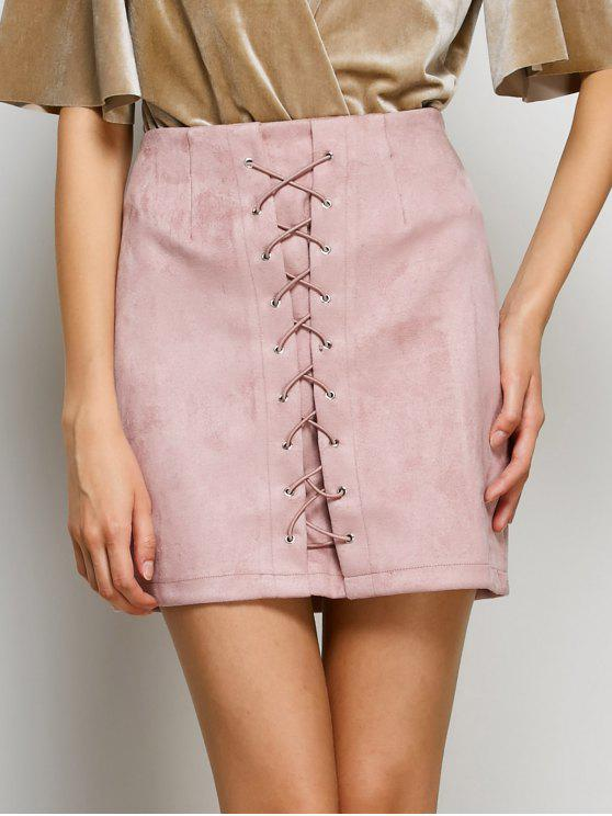 hot Lace-Up Bodycon Skirt - PINK S