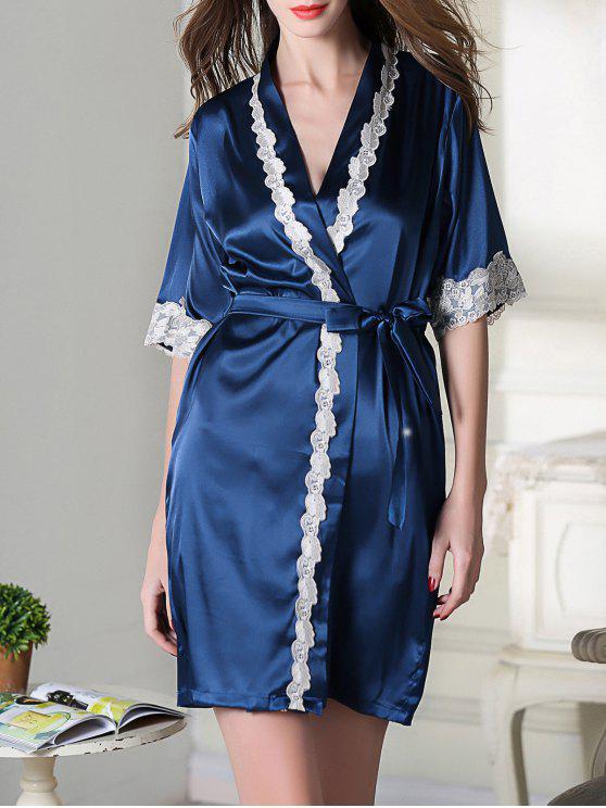 Belted Satin sono Kimono Robe - Azul Real M