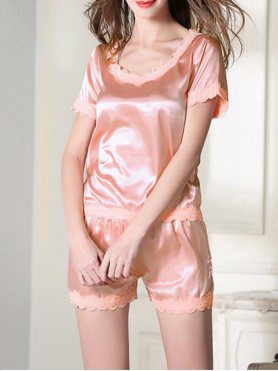 Satén de la cucharada de Tee boxeador pijama - Rosa XL