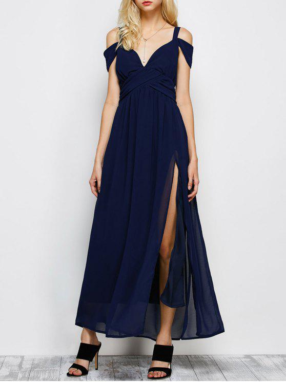 women Cold Shoulder Slit Maxi Prom Dress - PURPLISH BLUE M