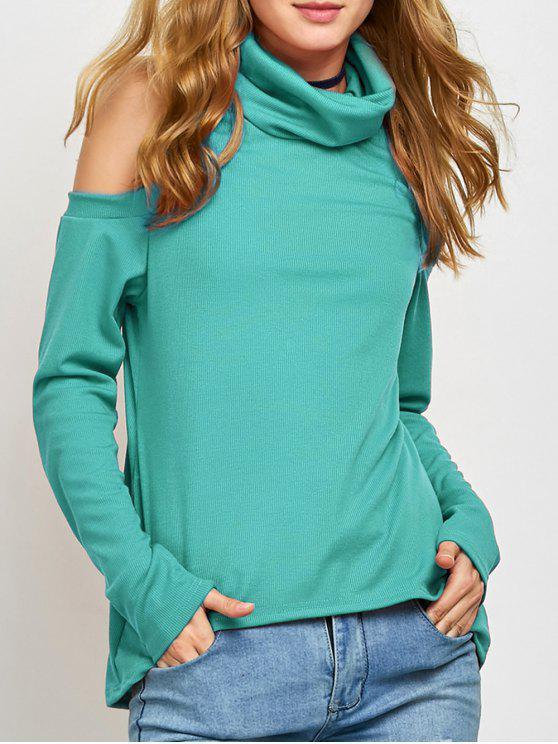 Cold Shoulder Turtle Neck Knitwear - Verde S