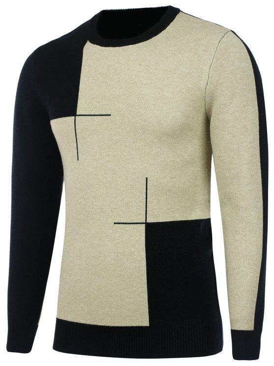 outfit Crew Neck Two Tone Knitted Sweater - BLACK L