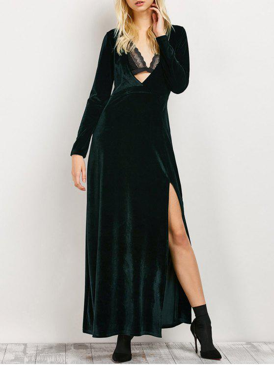 sale Long Sleeve High Slit Low Cut Maxi Dress - BLACKISH GREEN S