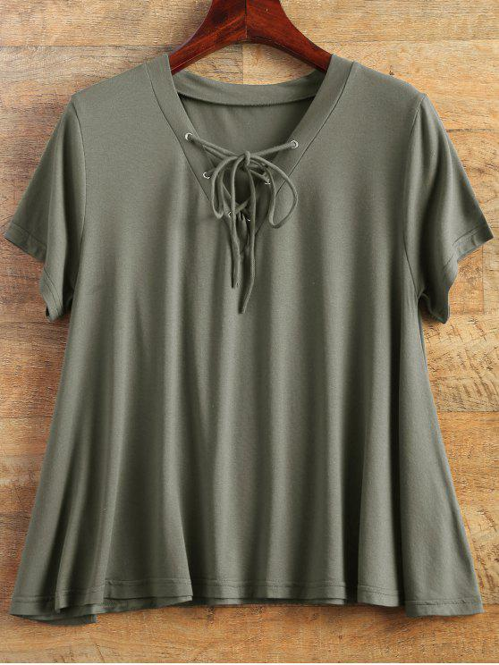 chic Flowy Lace Up Swing Tee - ARMY GREEN S