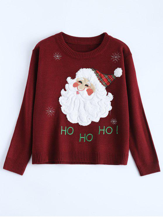 unique Santa Clause Christmas Sweater - WINE RED ONE SIZE