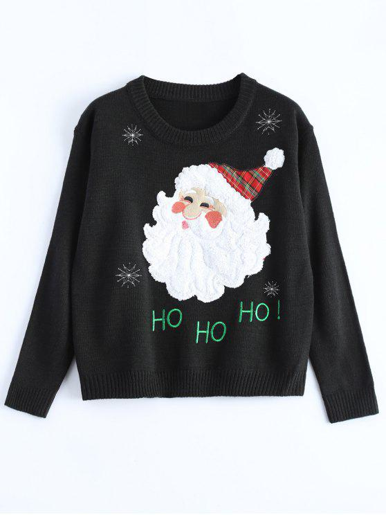 affordable Santa Clause Christmas Sweater - BLACK ONE SIZE