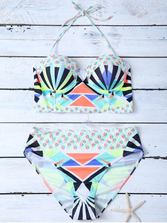 chic Ethnic Style Geometric Bikini Set - COLORMIX S