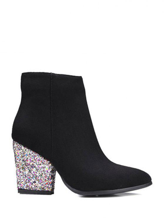 trendy Zipper Glitter Chunky Heel Ankle Boots - BLACK 38