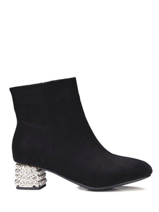 women Square Toe Rhinestones Zipper Ankle Boots - BLACK 38