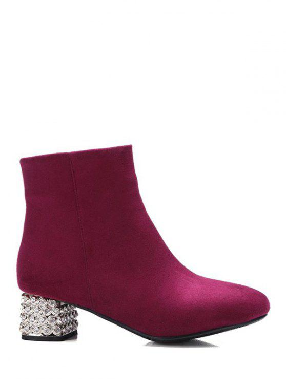 online Square Toe Rhinestones Zipper Ankle Boots - BURGUNDY 37