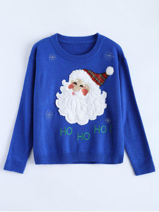sale Santa Clause Christmas Sweater - BLUE ONE SIZE