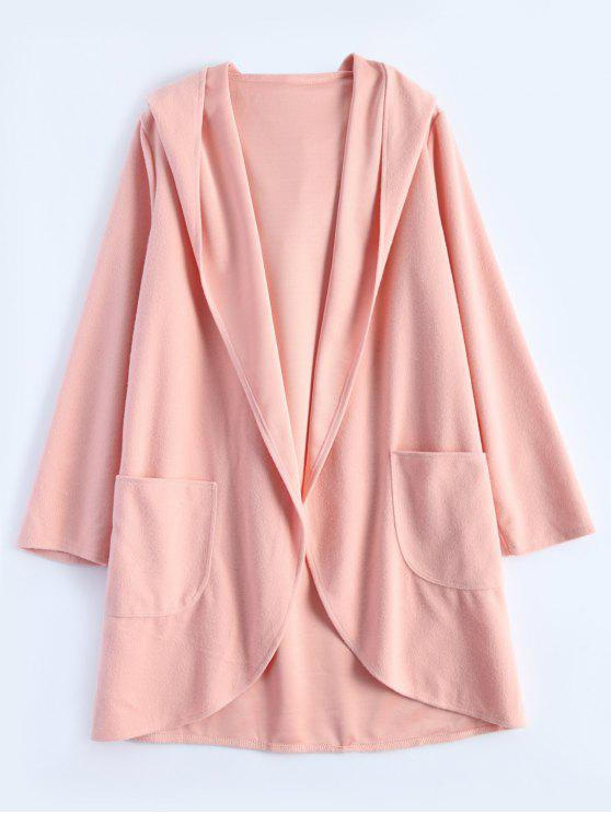 affordable Cotton Open Front Coat - PINK S