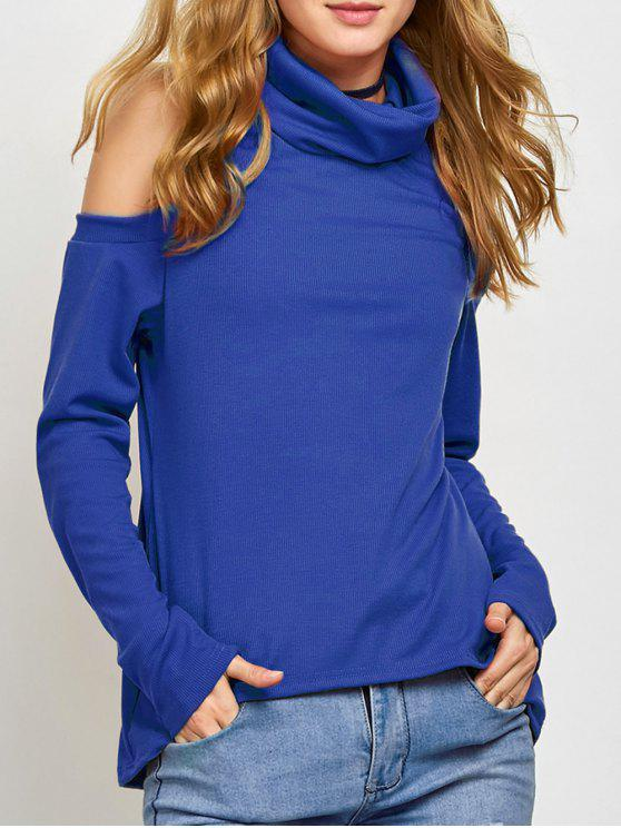 Pullover mit Rollkragen und Kalter Schulter - Blau M