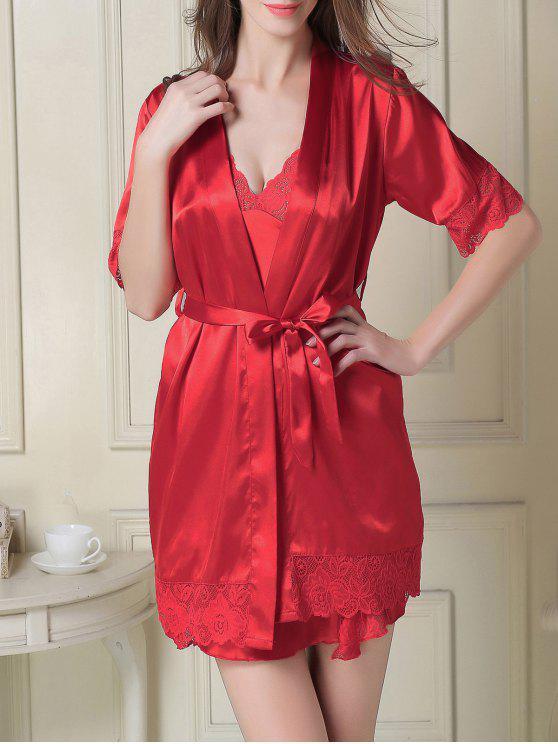 Vestido de deslizamiento sedoso y Robe - Rojo M