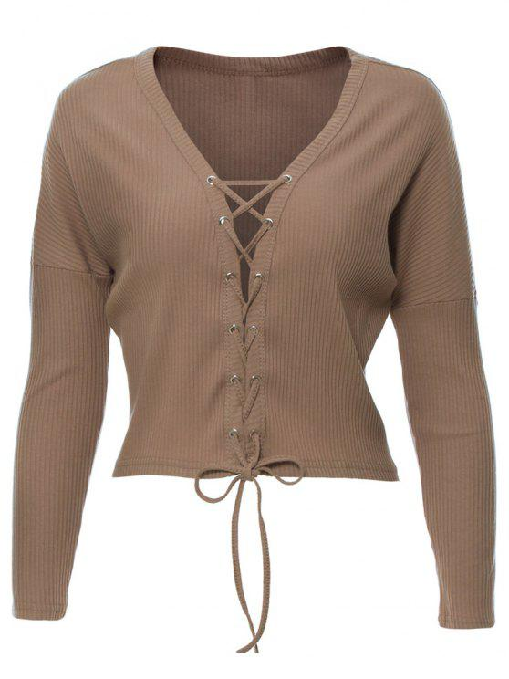 womens Lace Up Ribbed Cropped Cardigan - KHAKI M