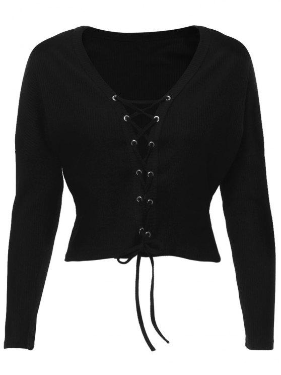 fashion Lace Up Ribbed Cropped Cardigan - BLACK S