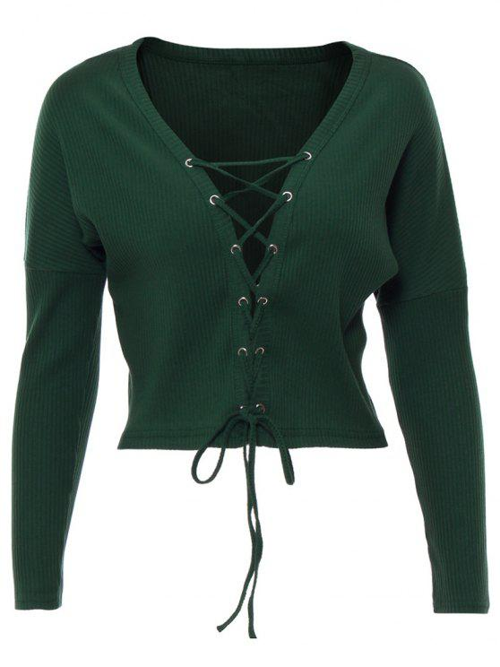 unique Lace Up Ribbed Cropped Cardigan - BLACKISH GREEN M
