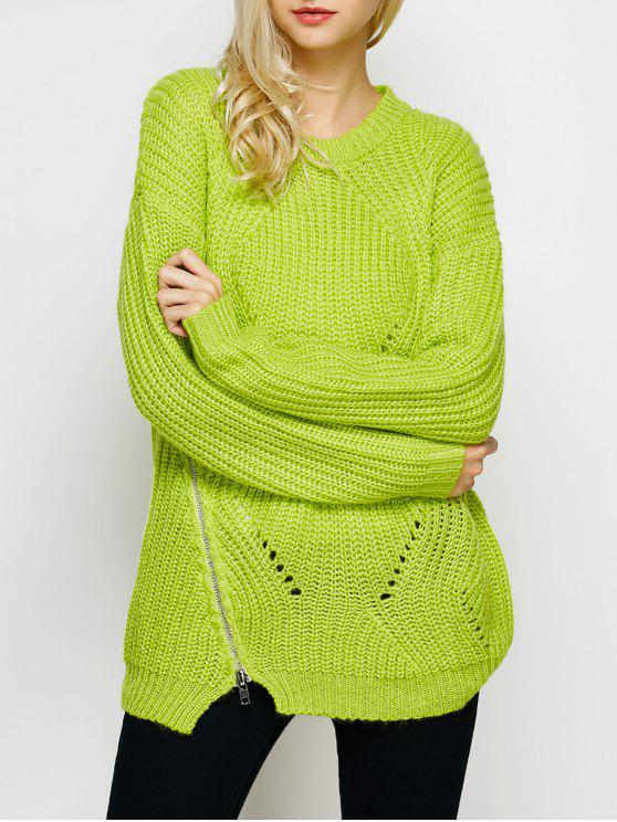 latest Open Stitch Sweater - LEMON GREEN 2XL