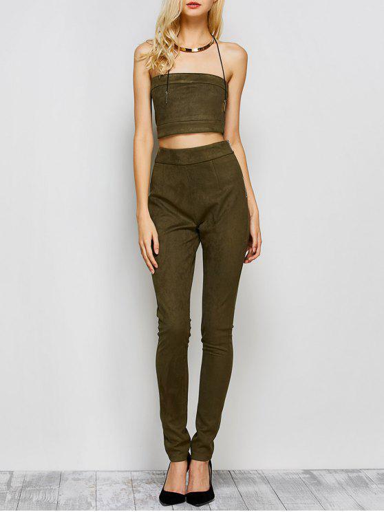 Pantalon taille haute en daim avec top bandeau court - Vert Armée  L