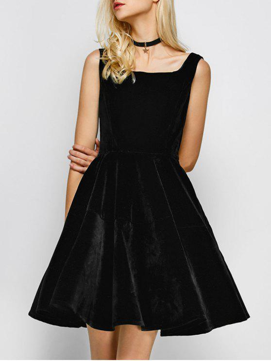 Cuello del cuadrado de la vendimia del vestido de terciopelo - Negro S