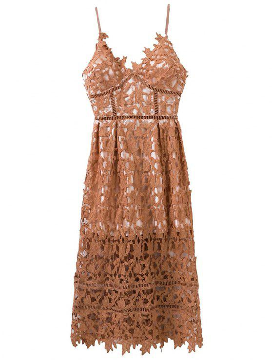 07a4f0aaf820 33% OFF  2019 Lace Hollow Out Slip Dress In LIGHT COFFEE