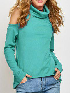 Cold Shoulder Turtle Neck Knitwear - Green S