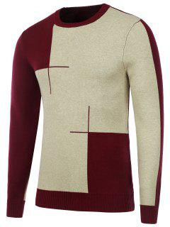 Crew Neck Two Tone Knitted Sweater - Burgundy M