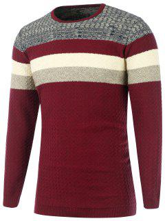 Color Matching Wavy Stripes Knitted Sweater - Burgundy 2xl