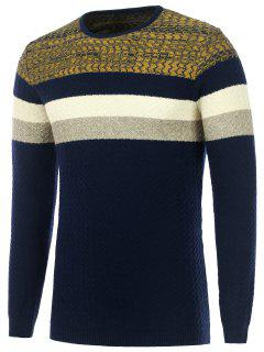 Color Matching Wavy Stripes Knitted Sweater - Cadetblue L