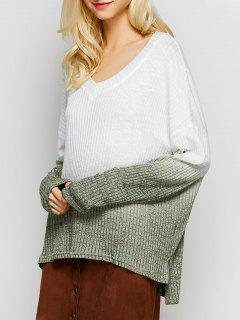 Ombre High-Low Knitwear - White L