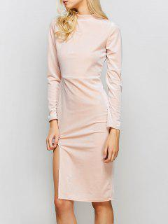 Vintage Velvet Slit Dress - Pink M
