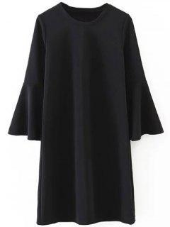 Robe Trapèze Avec Manches à Volants - Noir S
