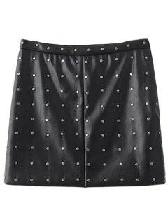 PU Leather Rivet A-Line Skirt - Black M